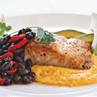 Seared Halibut with Yellow-Pepper Sauce.