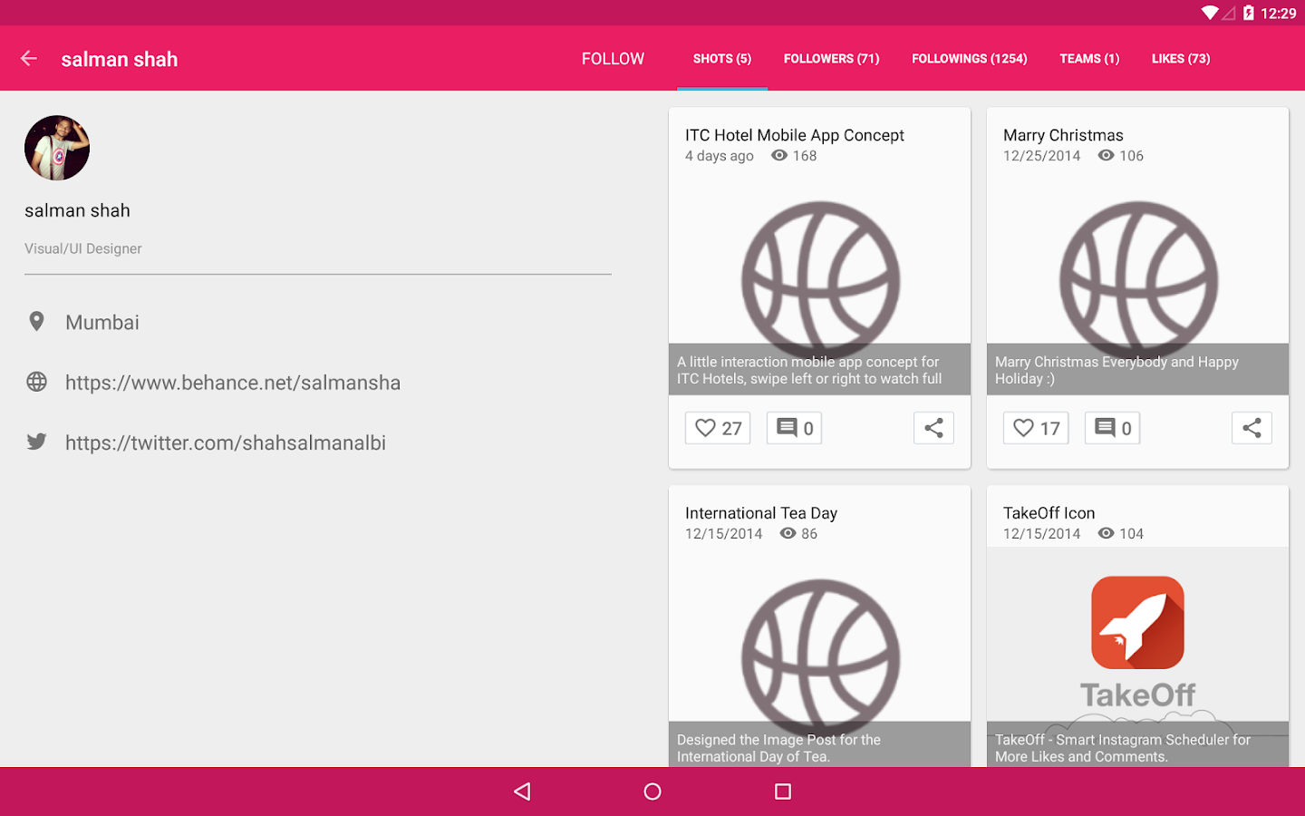 Droidddle - the Dribbble app- screenshot