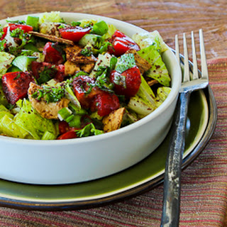 """Fattoush (Lebanese """"Crumbled Bread"""" Salad with Sumac and Pita Chips)"""