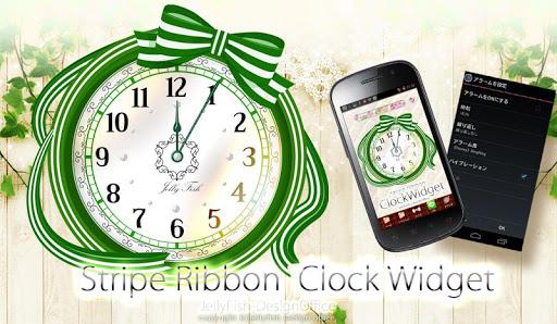 ストライプリボンの時計ウィジェット☆ナチュラルグリーン