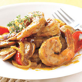 Andouille Sausage and Shrimp with Creole Mustard Sauce.