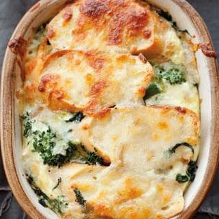 Broccoli Rabe, Pesto and Smoked Mozzarella Strata