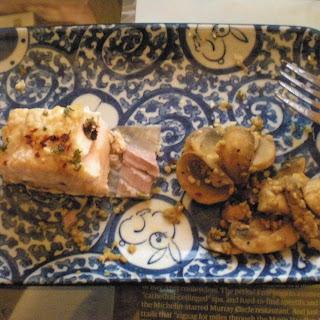 Baked Salmon and Garlic Mushrooms.