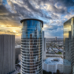 Smith Street from High at Sunset by Dee Zunker - City,  Street & Park  Skylines ( clouds, highrise, hdr, houston, texas, reflections, usa, 1400 smith, chevron building, sunset, enron building, time relative, downtown )