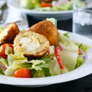 Greek Salad with Chicken Feta Croquettes