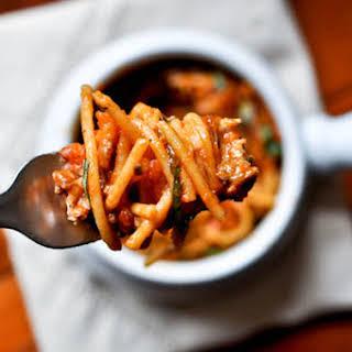 Baked Parmesan Spaghetti.