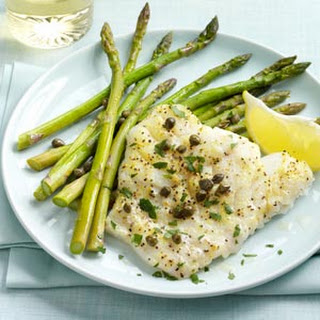 Baked Cod Piccata with Asparagus.