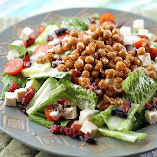 Chopped Salad with Bacon and Fried Garbanzo Beans.