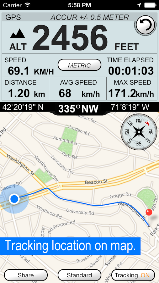 GPS Altimeter Speedometer +- screenshot