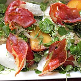 Tyler Florence's Peach, Mozzarella, and Crispy Prosciutto Salad
