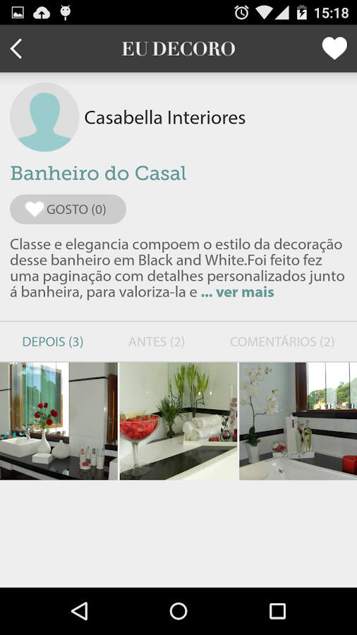 Eu Decoro– captura de ecrã