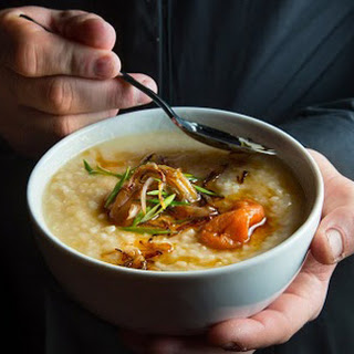 Congee with Pickled Plums, Fried Shallots and Chives
