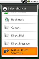 Screenshot of Manual Intent Shortcuts