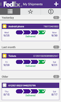 Screenshot of FedEx Mobile