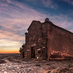 No One cares For Me... by Paulo Penicheiro - Buildings & Architecture Places of Worship ( clouds, canon, old, church, colors, alentejo, low light, traditional, paulo, country, history, 7d, sunset, penicheiro, portugal )