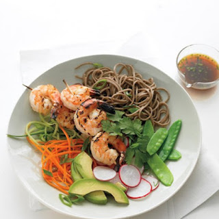 Soba Noodles with Grilled Shrimp and Orange Dipping Sauce.