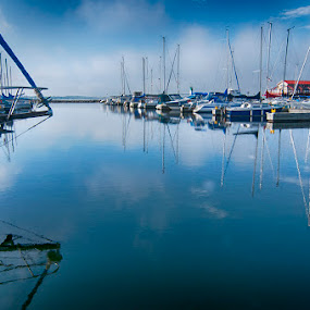Meyer's Pier, Belleville, Ontario by Lisa Wessels - Landscapes Waterscapes ( water, reflection, sailboats, blue, boats, pier, bay of quinte, belleville,  )