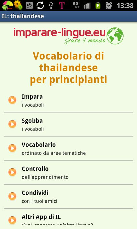 Imparare il thai, thailandese- screenshot