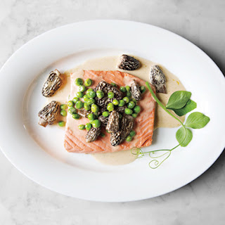 Poached Wild Salmon with Peas and Morels.