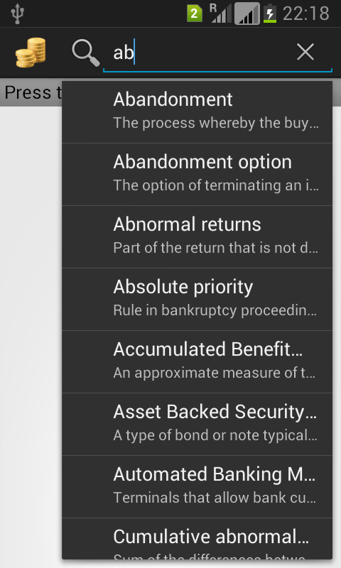 Financial Terms Dictionary - screenshot