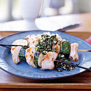 Spiedini of Chicken and Zucchini with Almond Salsa Verde