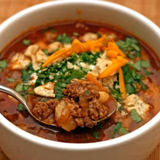 Turkey Chili Soup with Hominy.