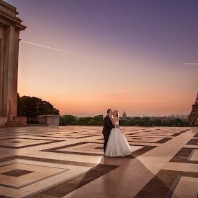 Early in the morning by Marius Igas - Wedding Bride & Groom ( love, eiffel tower, paris, bride, groom )