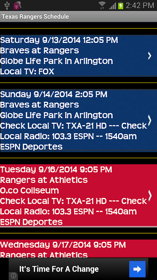 Schedule Texas Rangers fans - screenshot