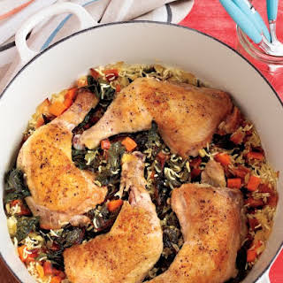 One-Pot Chicken and Rice with Swiss Chard.