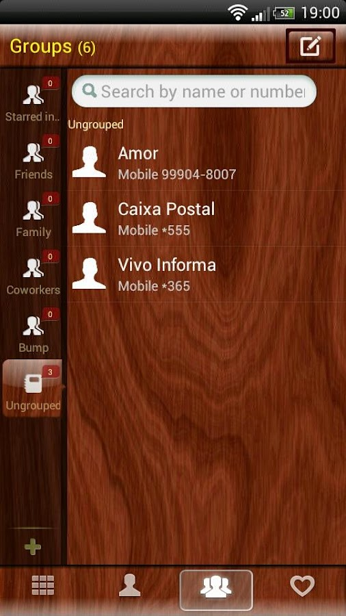 GOContacts theme Mahogany Wood- screenshot