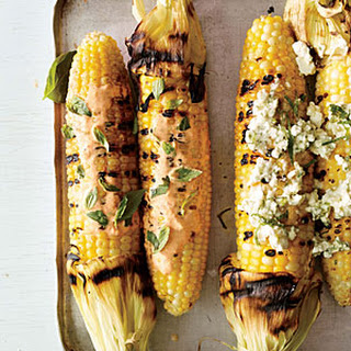 Corn on the Cob with Smoky Red Pepper Mayo and Basil
