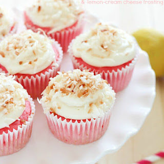 (2-Ingredient) Strawberry Soda Cupcakes with Lemon Cream Cheese Frosting.