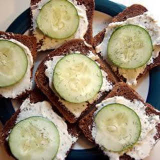 Cream Cheese and Cucumber Canapes.