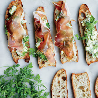 Pickled Egg Salad Crostini with Serrano Ham