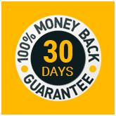 Money Back Guarantee icon. 100% money back guarantee within 30 days.
