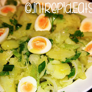 Potato Salad With Quail Eggs And Sping Onions.