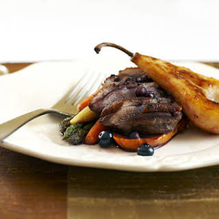 Tea-Smoked Duck Breast with Pears and Blueberry Jus.