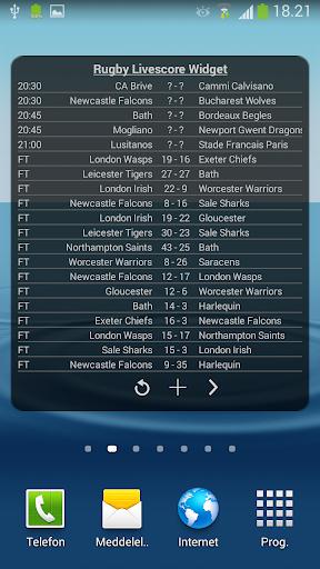 Rugby Livescore Widget 1.0 screenshots 1