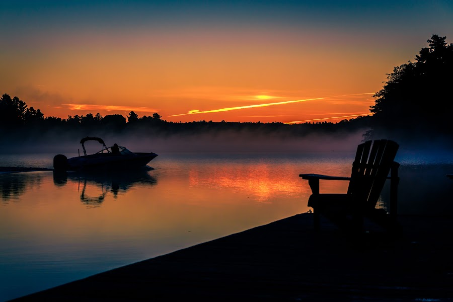 Morning Boat Ride by Rob Taylor - Transportation Boats ( calm, lake, morning, boat, dock, Chair, Chairs, Sitting )