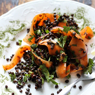 Moroccan Carrot Ribbons and Black Lentils