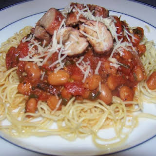 Grilled Turkey Sausage Pasta with Tomatoes and Cannellini Beans.