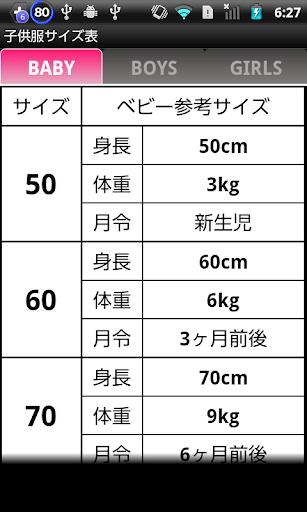 子供服サイズ表