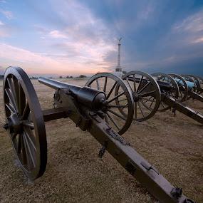 Antietam at Sunrise by Glen Fortner - City,  Street & Park  Historic Districts ( battlefield, antietam, confederacy, civil war, sunrise, cannon )