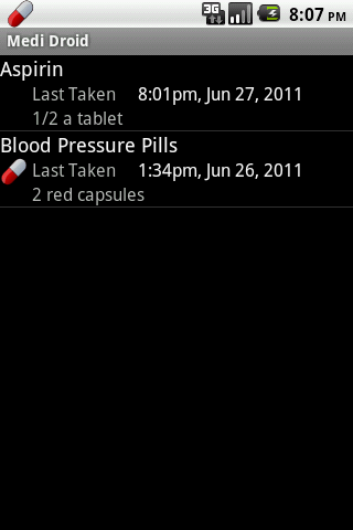 Medi Droid Pill Reminder - screenshot