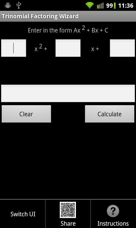 Trinomial Factoring Wizard - screenshot