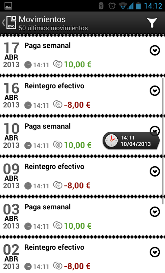 EVO Banco móvil - screenshot