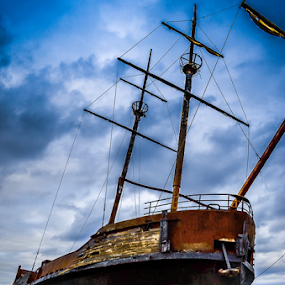 WELL GROUNDED by Udo Weber - Transportation Boats ( shore, old, ship, tall ship, storm, grounded, close )