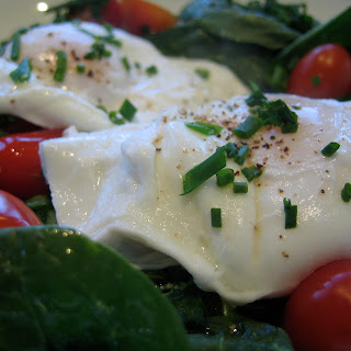 Poached Eggs Over Baby Spinach W/ Chives and Cherry Tomatoes Recipe