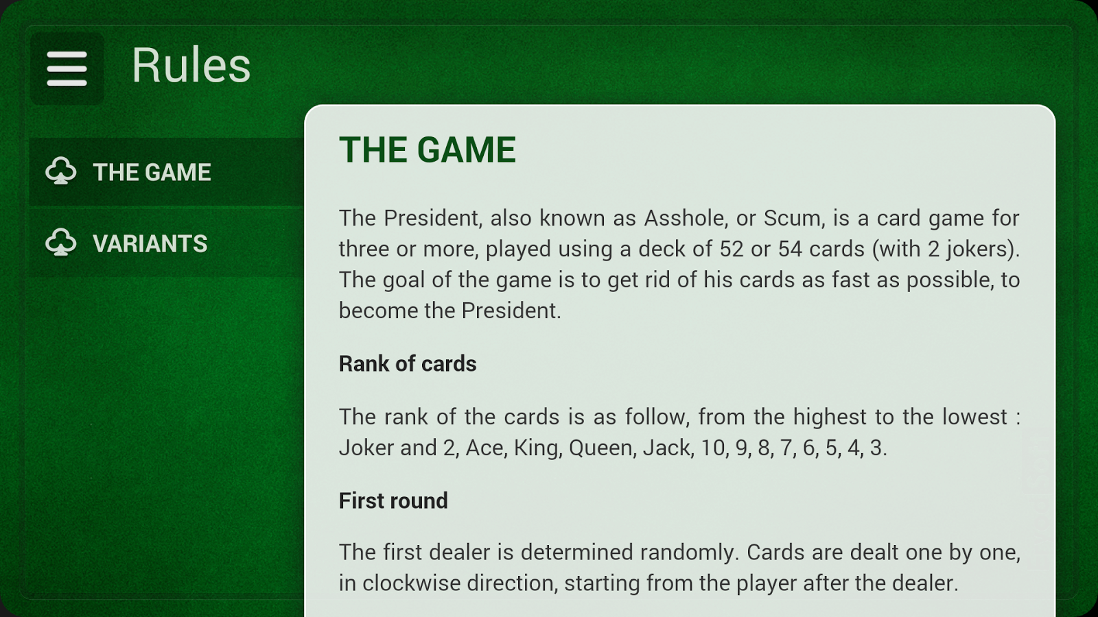 president card game online