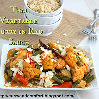 Thai Style Vegetables in Red Curry Sauce.